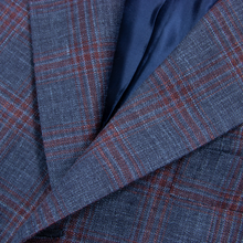NWOT Sartoria Solito Blue Red Wool Silk Linen Windowpane Plaid 3/2 Jacket 40R