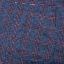 NWOT Sartoria Solito Blue Red Wool Silk Linen Windowpane Plaid 3/2 Jacket 42R