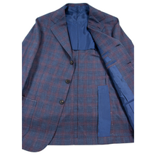 NWOT Sartoria Solito Blue Red Wool Silk Linen Windowpane Plaid 3/2 Jacket 38R