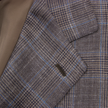 NWOT Sartoria Solito Brown Wool Silk Linen Glen Plaid Vented 3/2 Roll Jacket 36R