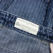 Brunello Cucinelli Blue Denim Striped Pleated Drawstring Leisure Jeans 34W/48EU