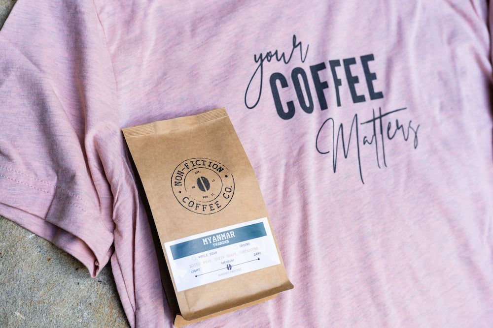 Your Coffee Matters T-Shirt Peach with Coffee