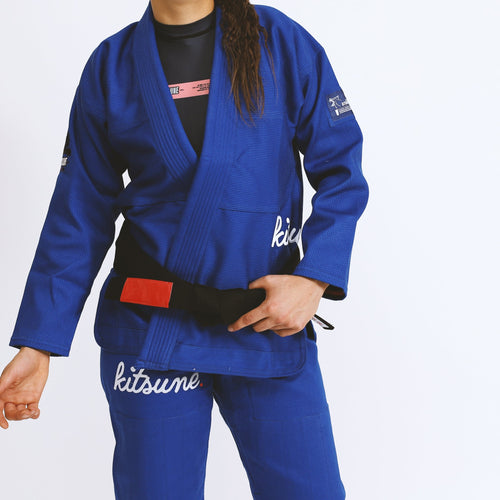"Kitsune ""Cursive"" Heavy Duty Blue BJJ Gi - Women's"