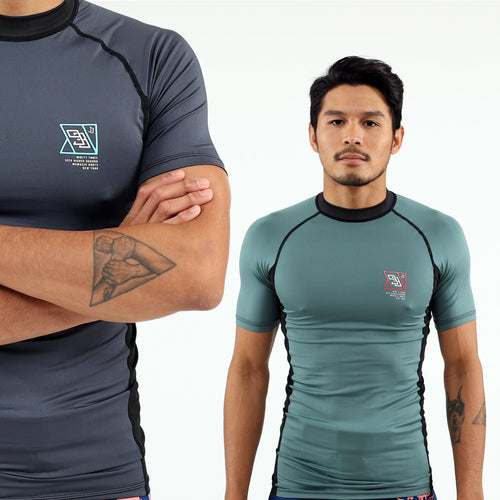 93brand 2019 Standard Issue Rash Guards 2-PACK (Sage Green, Slate Grey)