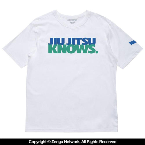 "Hyperfly ""Jiu Jitsu Knows"" Tee - White/Teal"