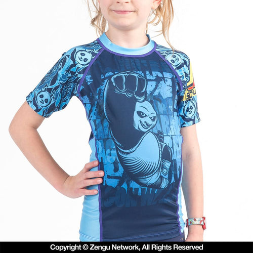 "Fusion Fightgear ""Kung Fu Panda Dragon Warrior"" Short Sleeve Kids Rash Guard"