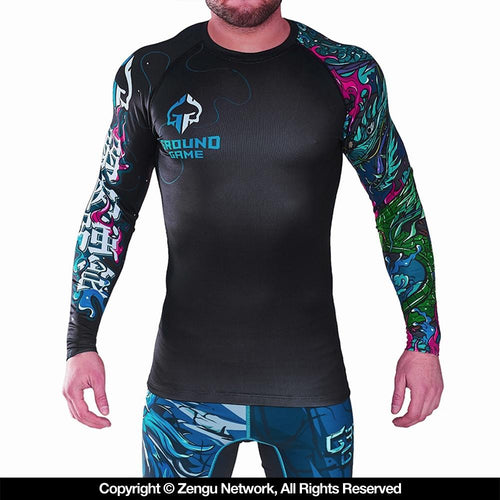 "Ground Game ""Yokai"" Rash Guard - Black"