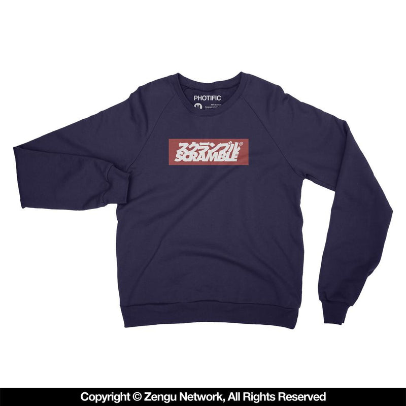 "Scramble ""Box Logo"" Navy Crew Neck Sweater"