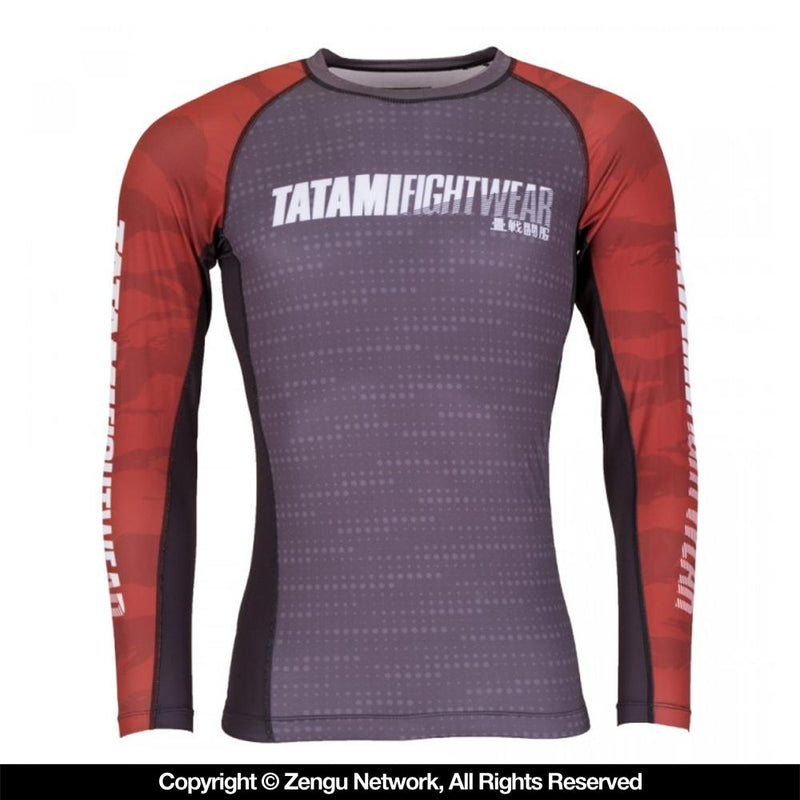"Tatami ""Particle"" Rash Guard - Grey/Red"