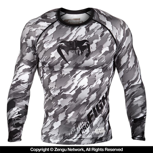 "Venum ""Tecmo"" Rash Guard - Black/Grey"