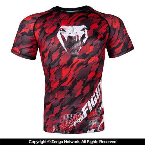 "Venum ""Tecmo"" Short Sleeve Rashguard - Red"