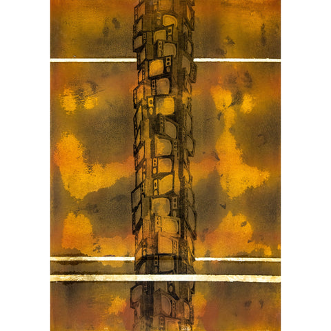 TV Tower #2 Monoprint