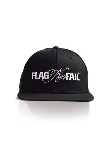 FNF LOGO BLACK TRUCKER HAT - WHITE