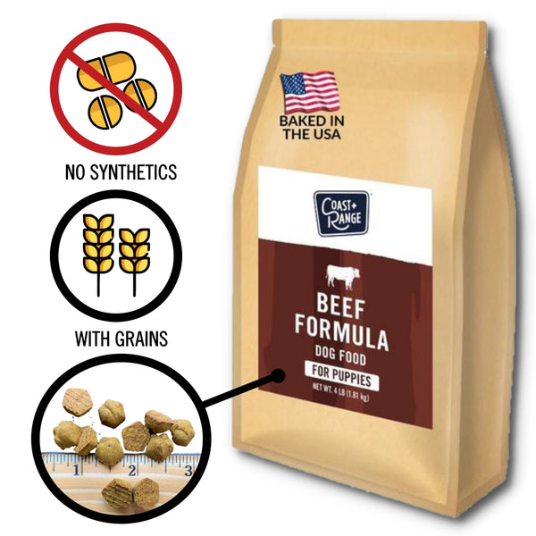 Gently-Baked Beef Formula Food for PUPPIES - 24lb Carton (6 x 4lb bag)