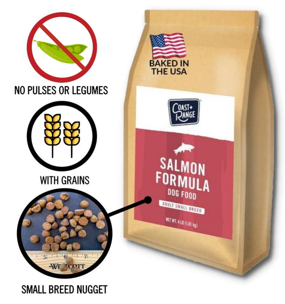 Gently-Baked Wild-Caught Salmon Formula 3.0 WITH GRAINS for Small Breed Adult Dogs - 4lb Carton (1 x 4lb bags)