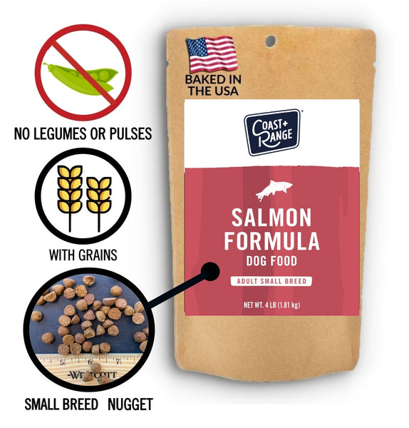 Gently-Baked Wild-Caught Salmon Formula 3.0 with MSC Certified Salmon and GRAINS for Small Breed Adult Dogs - 5oz Sample - Includes $25 coupon (limit one per customer)