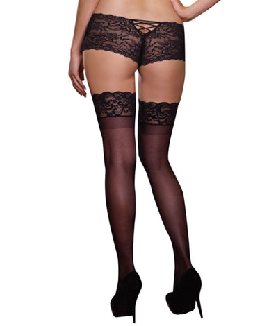 Plus Size Sheer Lace Top Thigh Highs in Black