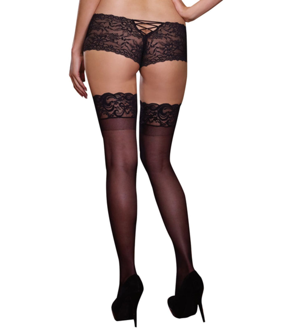 Black||Plus Size Sheer Lace Top Thigh Highs in Black