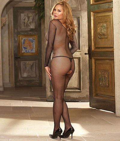 Plus Size Fishnet Bodystocking in Black