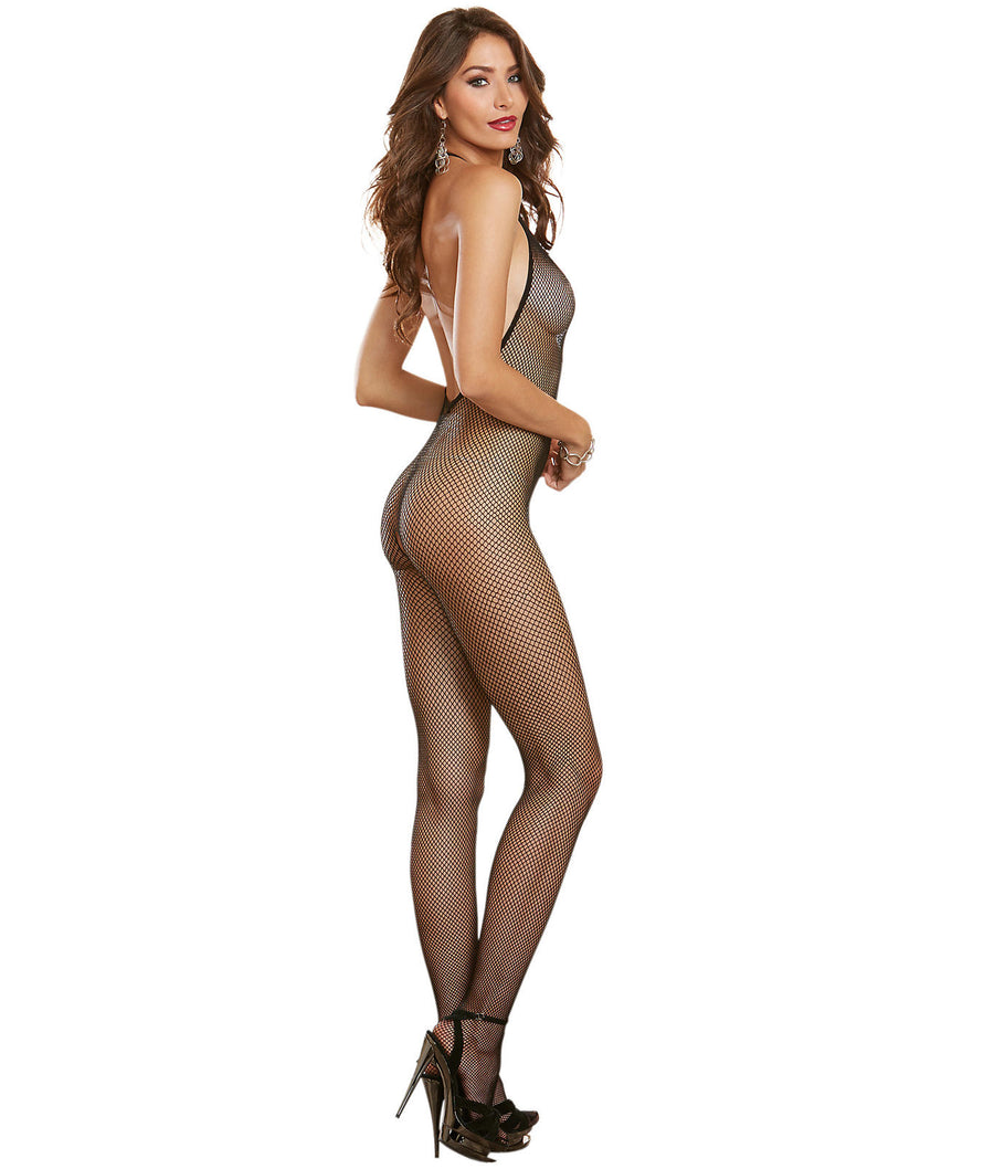 Black||Halter Fishnet Bodystocking in Black
