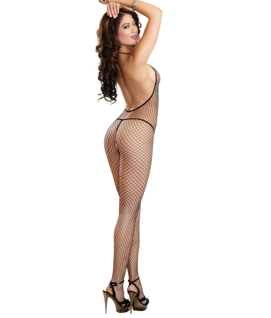 Black||Crotchless Halter Bodystocking in Black