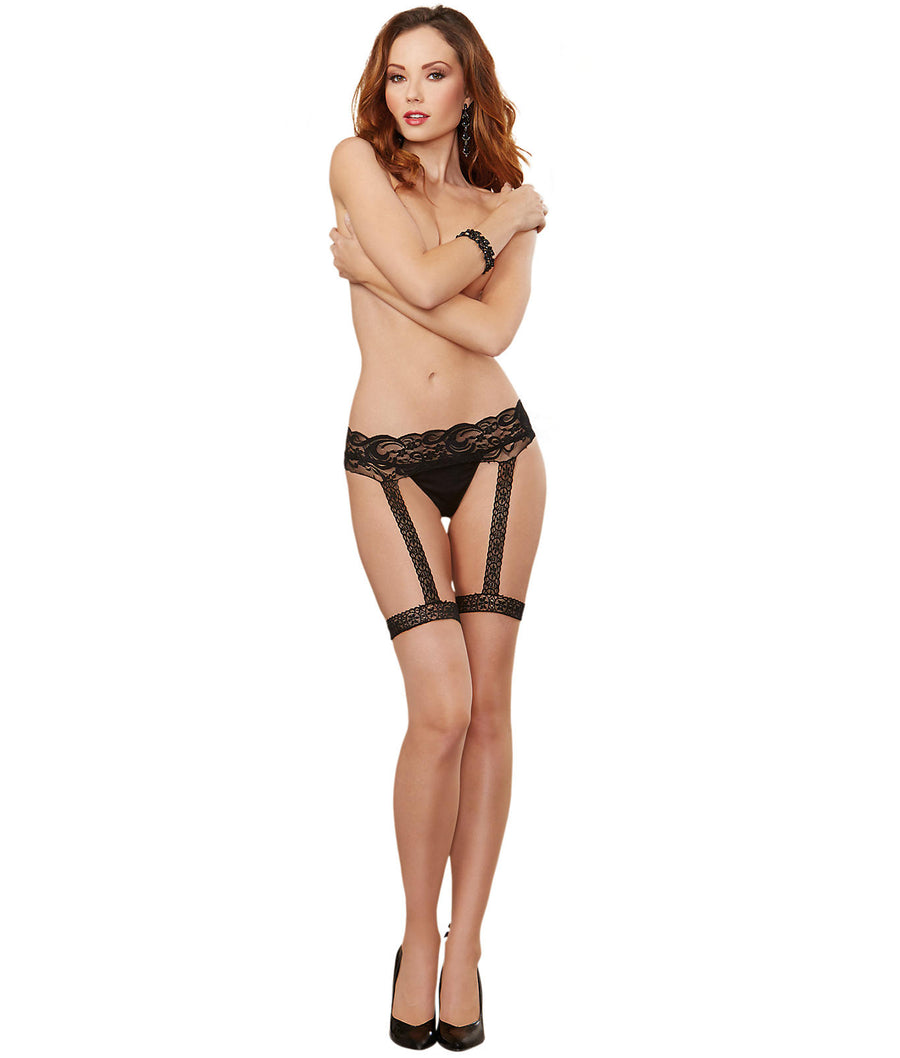 Nude||Naughty Script Garter Belt Thigh Highs in Nude