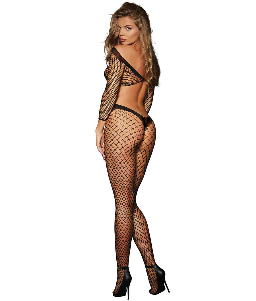 Black||Fishnet Crotchless Bodystocking in Black