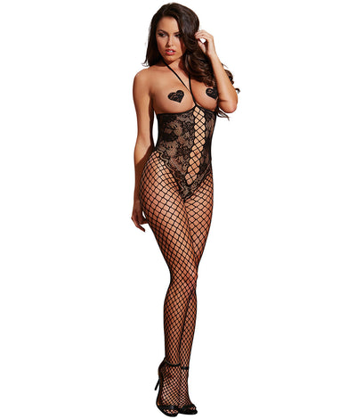 Open Cup Crotchless Fishnet Bodystocking in Black
