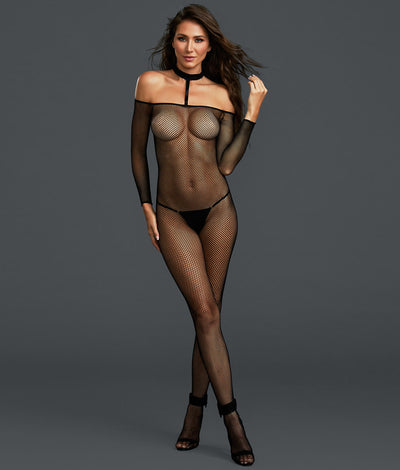 Choker Fishnet Crotchless Bodystocking in Black