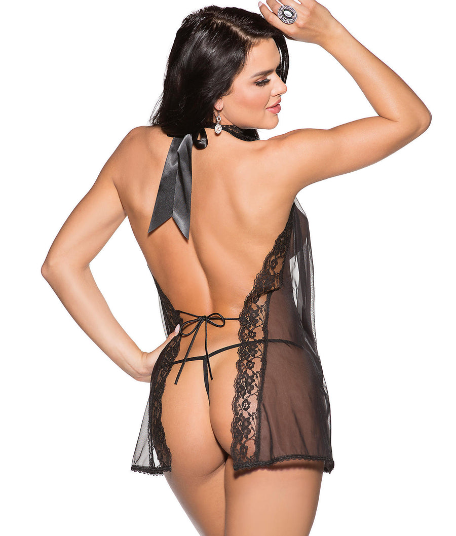 Black||High Neck Drape Sheer Babydoll Set in Black