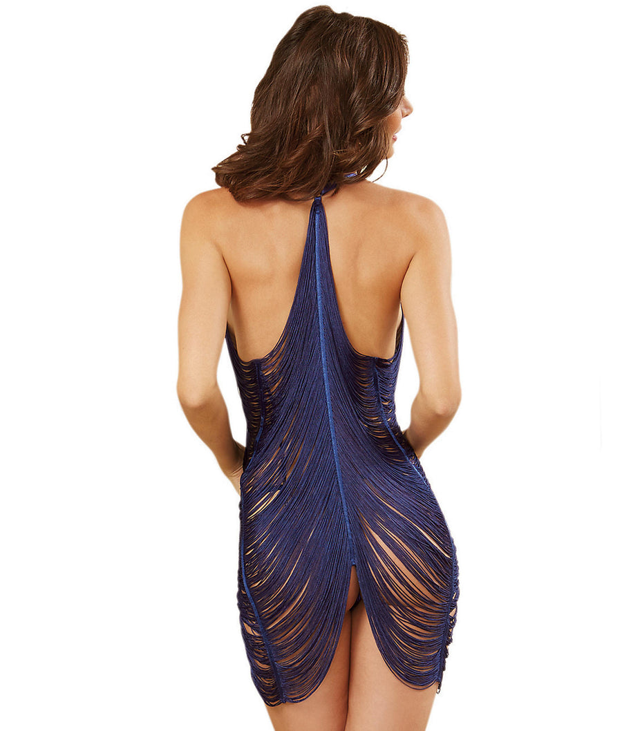 Midnight Blue||Fringe Chemise Set in Midnight Blue