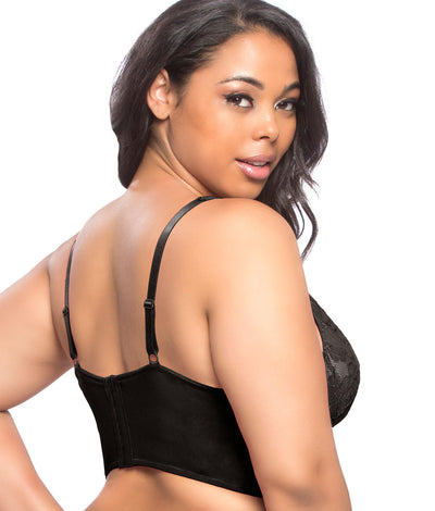 Plus Size Yvette Longline Bralette in Black