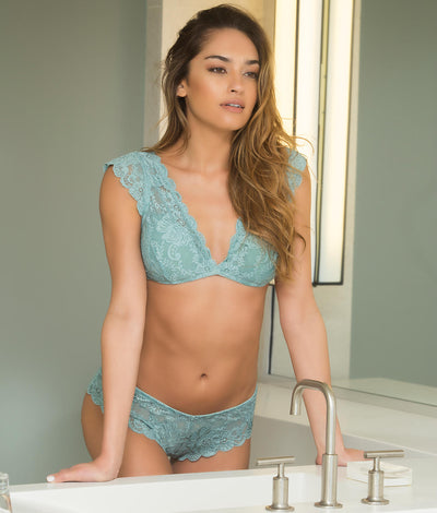 Real Lingerie Suzette Lace Tanga in Dusty Turquoise
