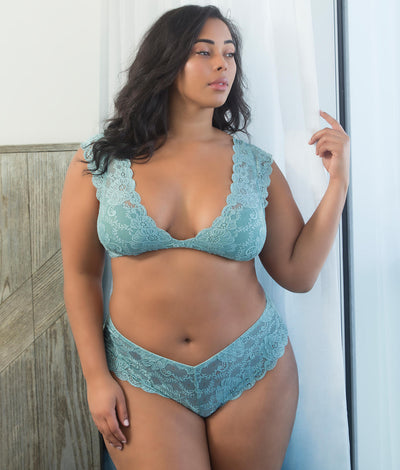 Plus Size Real Lingerie Suzette Lace Tanga in Dusty Turquoise