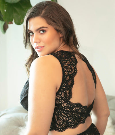 Plus Size Real Lingerie Bohemian Bralette in Black