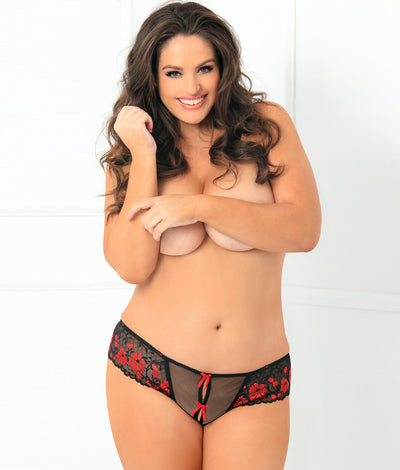 Plus Size Crotchless Bow & Lace Thong in Black / Red