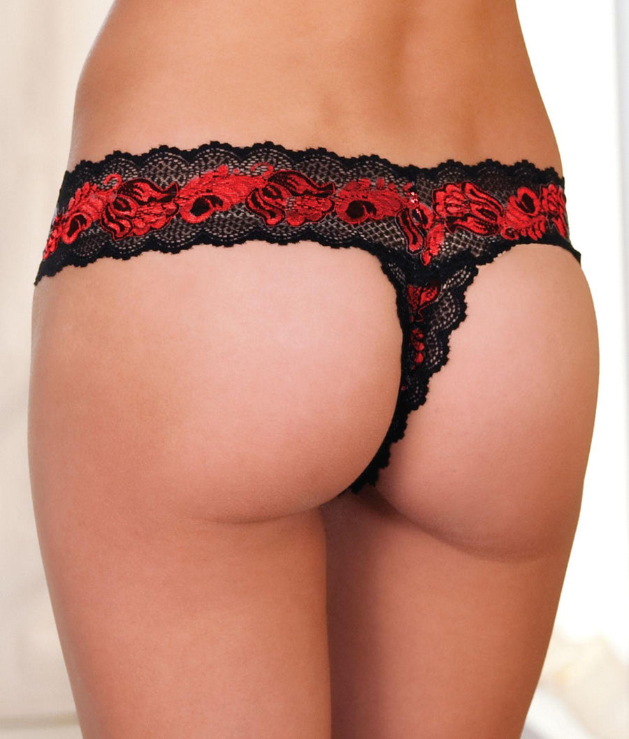 Red||Crotchless Lace V-Thong in Red