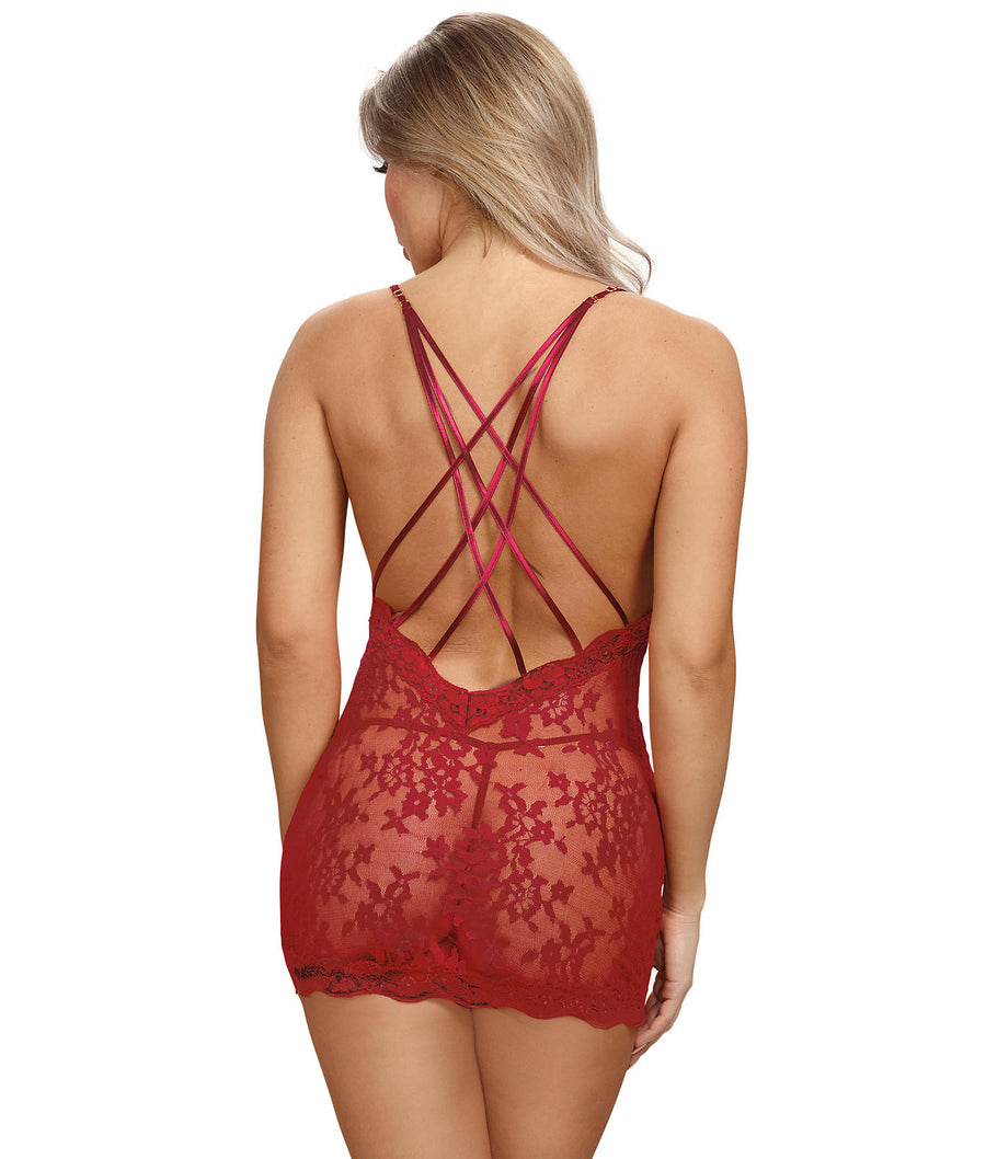 Red||Strappy Lace Chemise Set in Red