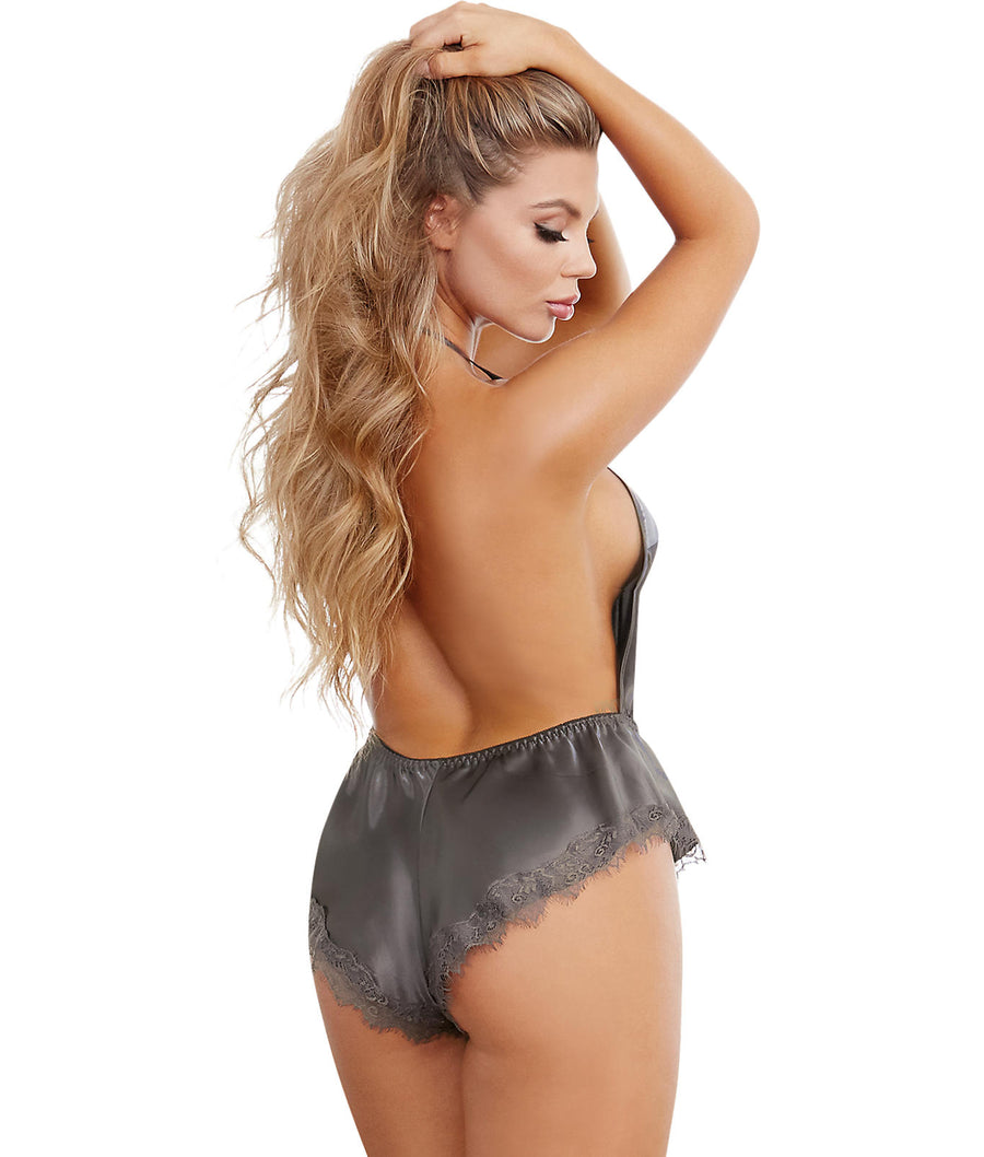 Slate Grey||Silky Satin Romper in Slate Grey