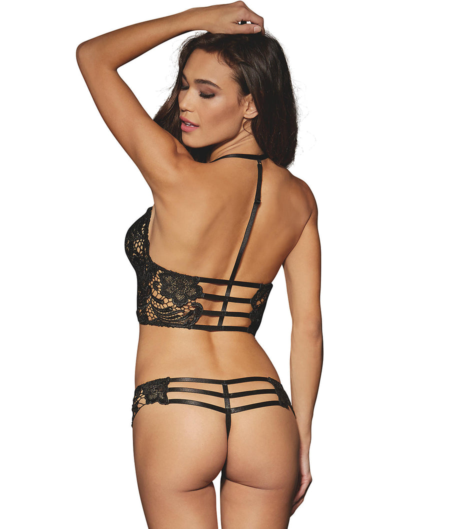 Black||Strappy Wire-Free Bra Set in Black