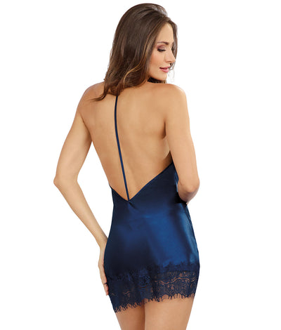 Satin Cowl Neck Chemise in Navy