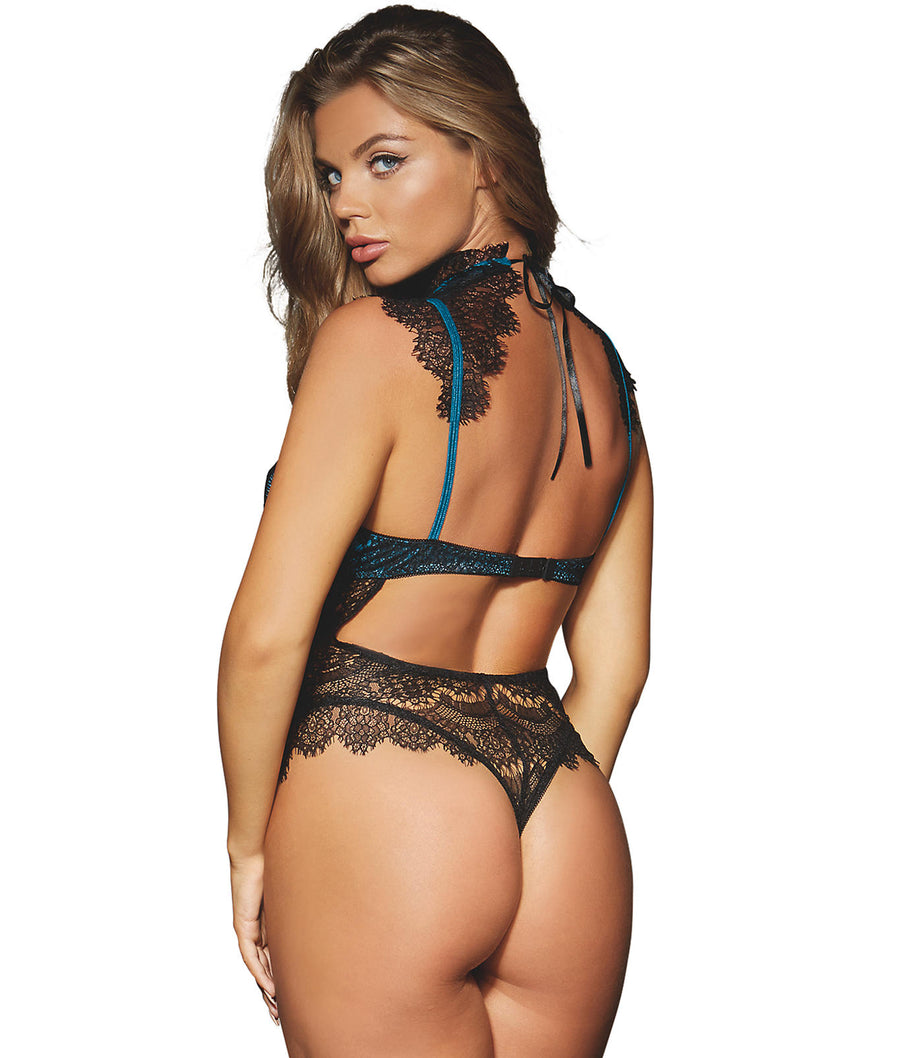 Black / Teal||High Neck Lace Teddy in Black / Teal
