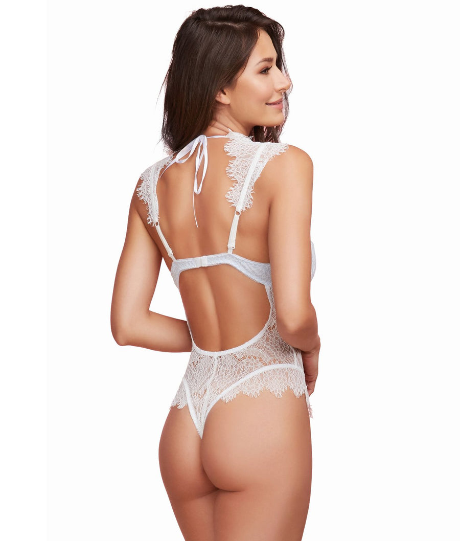 White||High Neck Lace Teddy in White