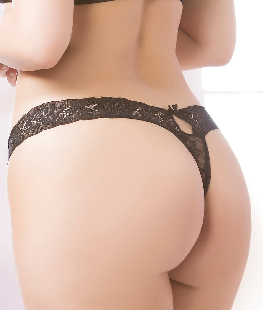 Black||Plus Size Keyhole Lace Thong in Black