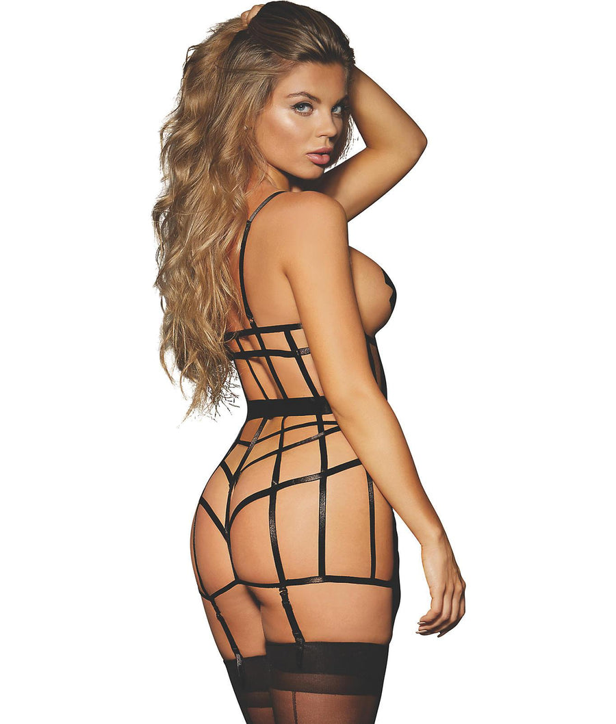 Black||Elastic Cage Open-Cup Chemise in Black
