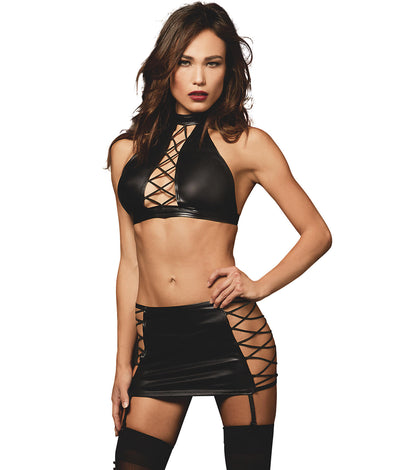 Lace-Up Faux Leather Wire-Free Garter Set in Black
