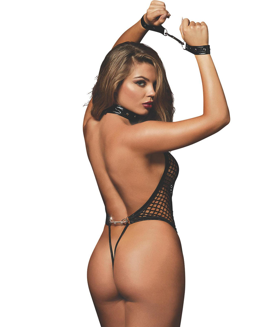 Black||Fishnet Open Back Wire-Free Teddy in Black