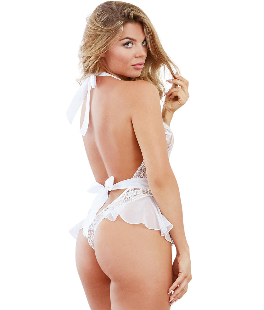 White||Deep Plunge Crotchless Lace Teddy in White
