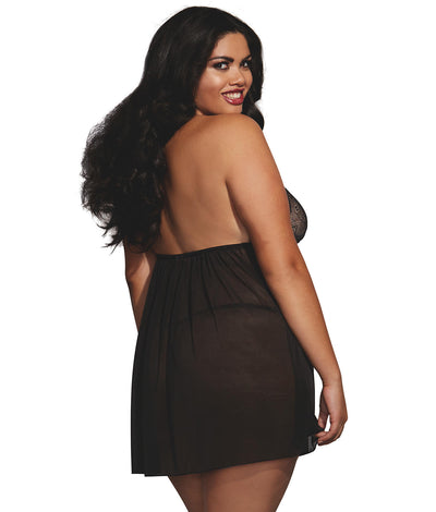 Strappy High Neck Babydoll Set Plus Size in Black