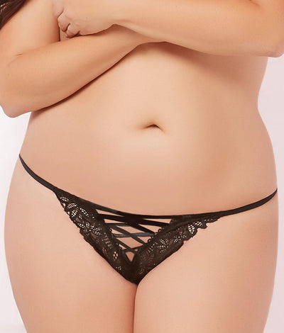 Plus Size Lace-Up Thong in Black